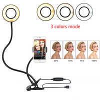Luz do anel do diodo emissor de luz do estúdio da foto selfie com suporte móvel do telefone celular para a composição do córrego vivo do youtube, lâmpada do telefone para iphone/android