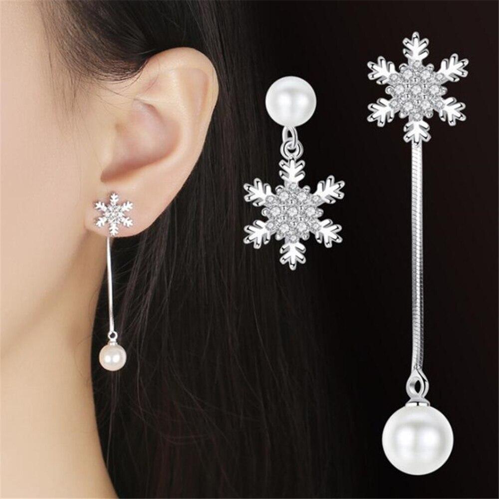 Luxury Brand Silver Jewelry Asymmetric Fringe Exaggeration Long Drop Earrings Women's Zircon Snowflake Fashion Creative Drops
