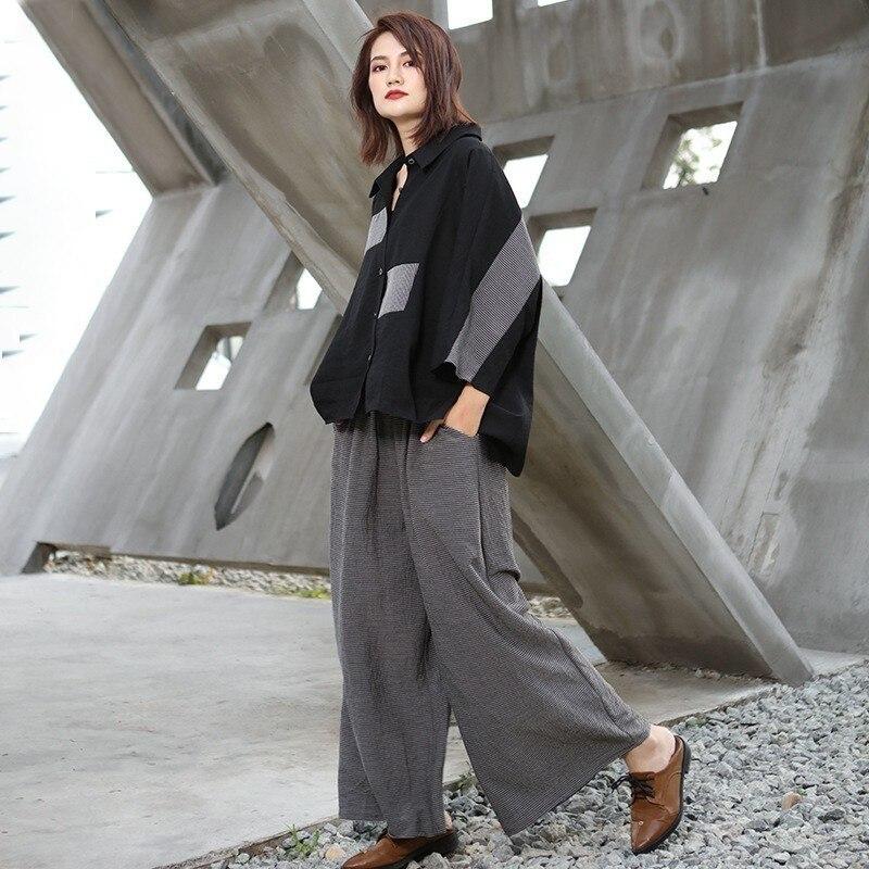 LANMREM 2020 New Fashion Two-piece Asymmetrical Stitching Top And Striped Wide-leg Pants Female's Two Pieces Set Vestido YG10201