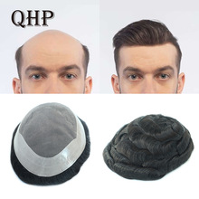 Men Toupee Replacement-Systems Human-Hair Fine Mono Natural Wig And Indian Pu-Transparent