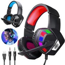 RGB Gaming Headset Stereo Surround Headphone 3.5MM Wired Mic For PS4 Laptop for Xbox One 3 5mm wired gaming headset pc bass stereo surround headphone wired computer gamer earphone with mic for ps4 laptop for xbo​x