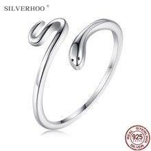 Silverhoo real 925 prata esterlina simples aberto anéis ajustáveis para mulher cobra preto cz cocktail dedo anel de prata jóias