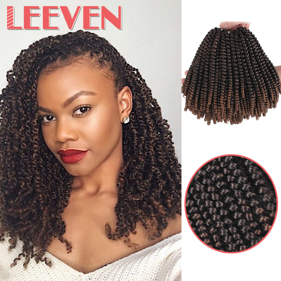 Leeven 8inch Fluffy Spring Twist Crochet Hair Extensions Synthetic Crochet Braids Black Brown Ombre Braiding Hair 110g title=