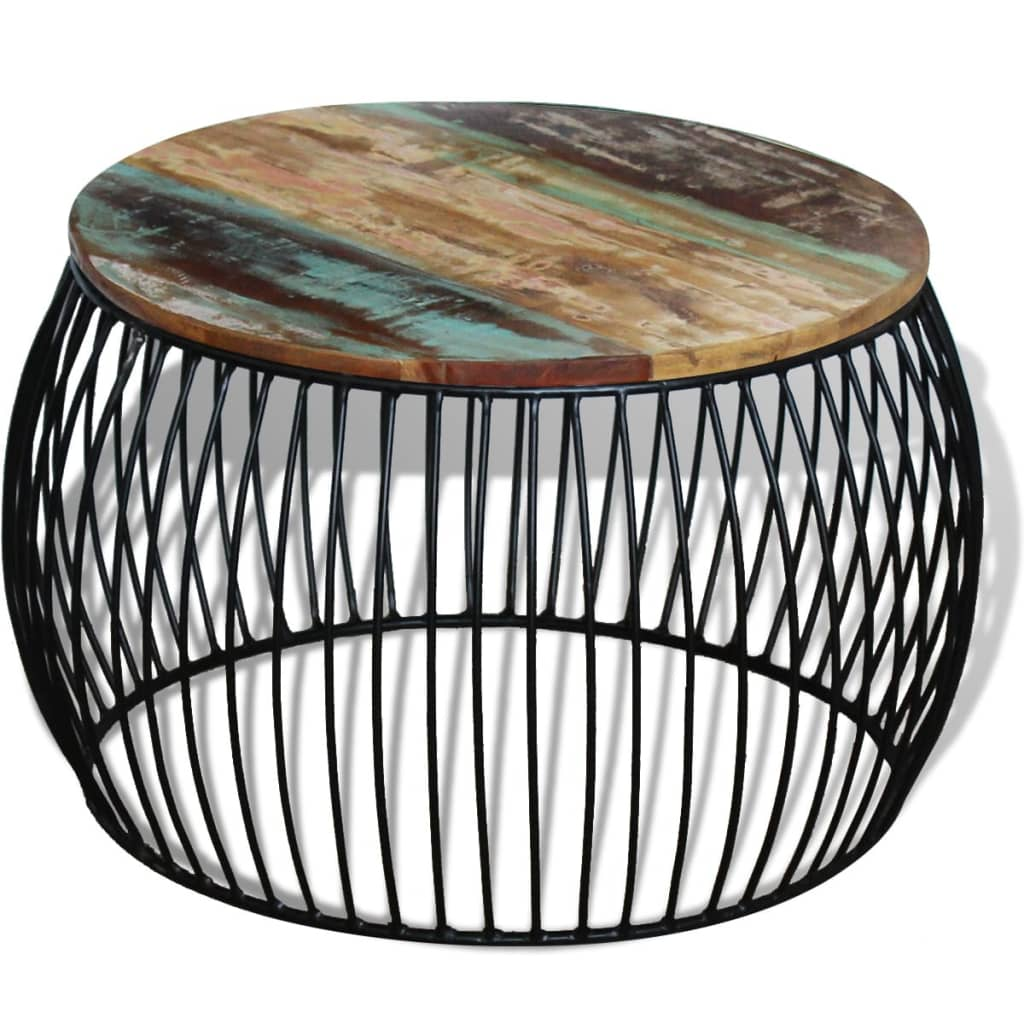 VidaXL Coffee Table Round Solid Reclaimed Wood 68x43 Cm