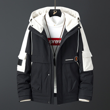 Coat Jacket Hooded White-Duck-Down-Jacket Mens Brand-New Warm Thick Patchwork Windbreaker
