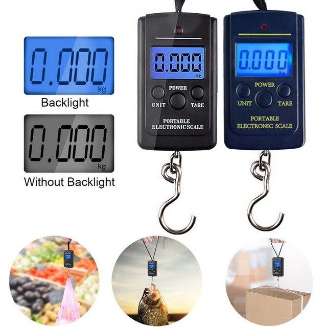 Цифровые весы для багажа, 40 кг х 10 г, электронные весы подвесного крючка для рыбалки, путешествий, кухни