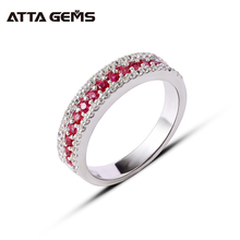 Anillos de plata de ley de rubí para mujer, joyas pequeñas y redondas de Rubí, joyería fina, regalo de cumpleaños De estilo exquisito para niña