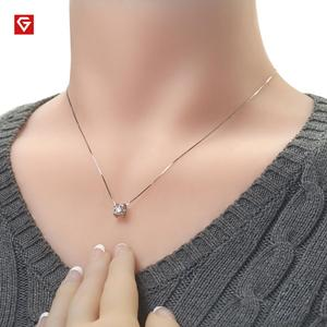 Image 2 - GIGAJEWE collar de moissanita plata de primera ley para mujer, collar redondo, plata esterlina 5,5, oro blanco de 18 quilates, 18K, 925mm, Diamante de prueba, regalo para niña y mujer