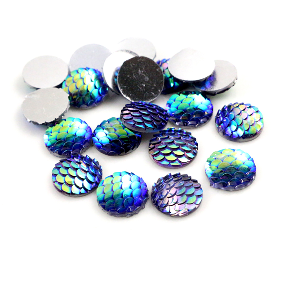 New Fashion 40pcs 12mm Light Purple AB Colors Fish Scale Style Flat Back Resin Cabochons For Bracelet Earrings Accessories-Z4-29