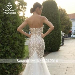 Image 5 - SWANSKIRT Fashion Appliques Wedding Dress Sweetheart Mermaid Illusion Court Train Princess Vestido de novia SA13 Bridal Gown
