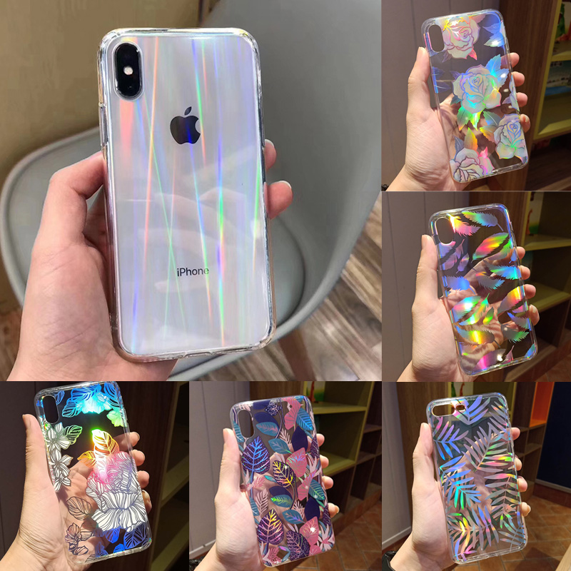 Fashion Gradient Rainbow Laser Case for iPhone X XS Max Xr Transparent Hard Capa Fundas for iPhone 8 7 6 6S Plus Acrylic Case