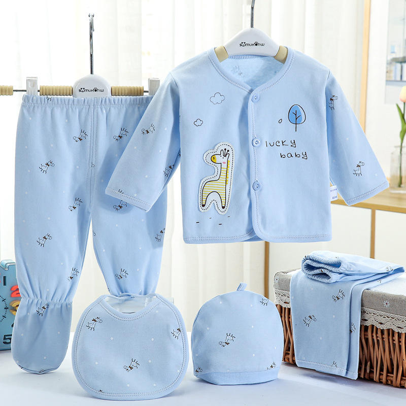5pcs Baby Outfit Baby Girl Clothes 0-3m Spring Summer Print Cartoon Newborn Clothing Gift Set Cotton Baby Boy Clothes