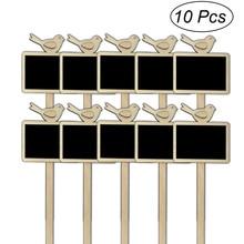Blackboard Sign Plant-Markers Wood for Flower-Pot Label-Tag 10pcs