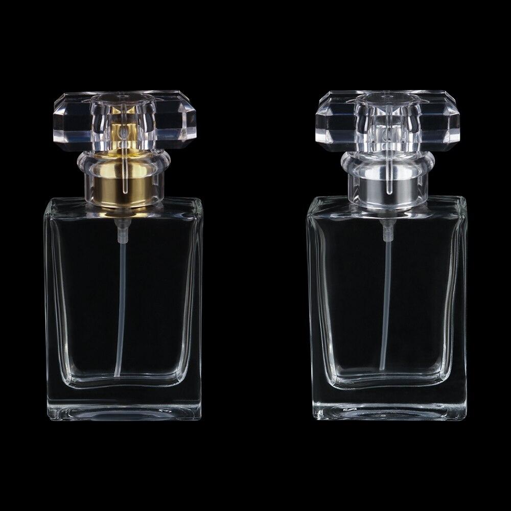 30ml Custom Logo Rectangular Bayonet Perfume Bottle, Aluminum Sprinkler, Transparent Glass Bottle, Empty Bottle