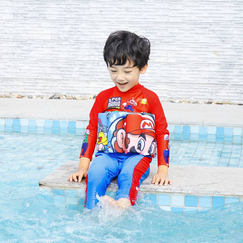 Plus-sized Large Floating Rod One-piece BOY'S Buoyancy Bathing Suit KID'S Swimwear Super Mario Cool Outdoor Sun Protection Cloth