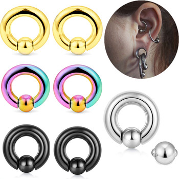 1PCS Steel Captive Bead Rings Ball Closure Ring CBR Nose Piercing Nipple Screwball Ring Pa Helix Hoop Earring Genitals Piercing image