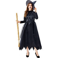 JIEZuoFang Set Women Clothes Sexy Halloween midi Dress+hat Cosplay Witch Vintage Gothic Vintage Dress Role playing black