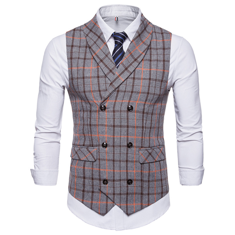 Men's suit vest spring and autumn new men's check double-breasted casual vest men's business casual office formal vest