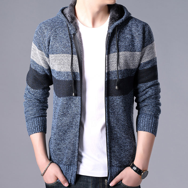 Winter Men's Stripe Sweater Coat Fleece Hooded Full Zip Casual Jackets Thick Long Sleeve Comfy Knitted Wool Sweaters Casual Wear