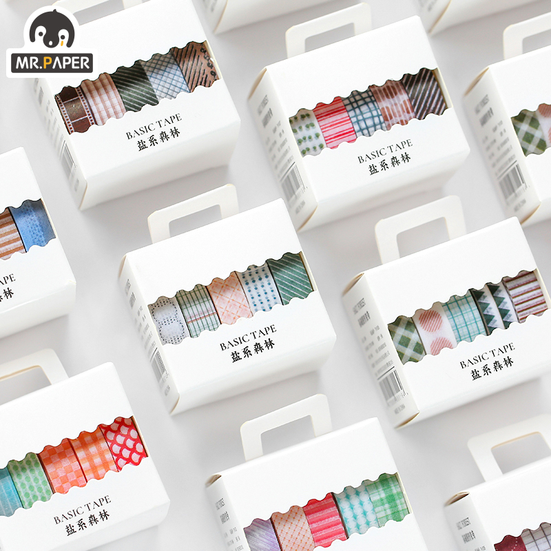 Mr.Paper 5pcs/box 8 Design Salt Forest Series Spots Color Scrapbook Cut-off Rule Washi Tape Bullet Journaling Deco Masking Tapes