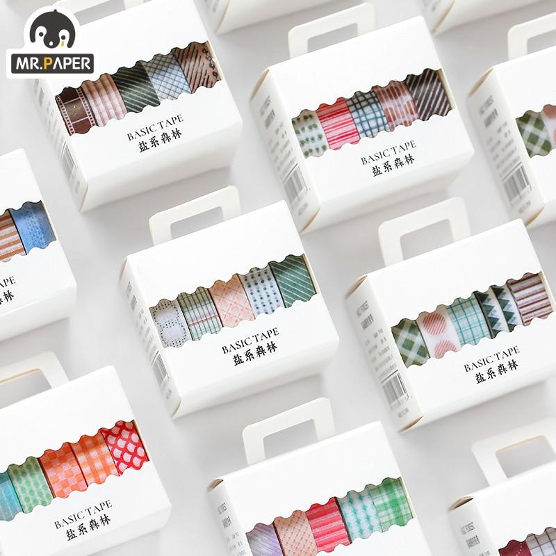 Mr.Paper 5pcs/box 8 Design Salt Forest Series Spots Color Scrapbook Cut-off Rule Washi Tape Bullet Journaling Deco Masking Tapes