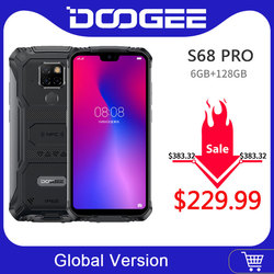 Ip68 impermeável doogee s68 pro carga sem fio do telefone áspero nfc 6300 mah 12v2a carga 5.9 polegada fhd + helio p70 octa núcleo 6 gb 128 gb