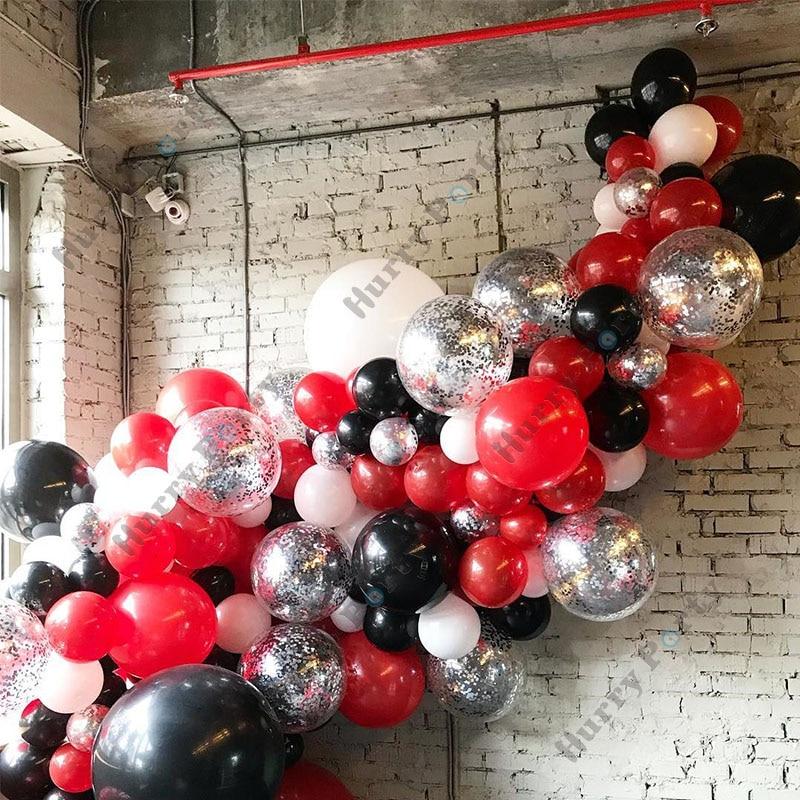 129 шт. украшения для дома, воздушные шары, гирлянда, строительные черные, красные, серебряные шары с конфетти, школьные товары для выпусквече...