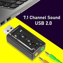 External USB 2.0 Sound Card 7.1 Channel 3D 3.5mm Headset Audio Adapter Converter D Surround Sound With Button Control Sound Card virtual 5 1 surround usb 2 0 external sound card