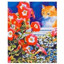 Алмазная мозаика Котик и цветы Рыжий Кот 30х40см