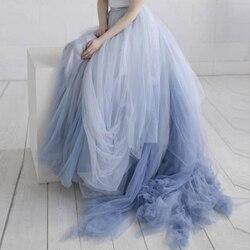 Art und weise Mischte Farbe Tüll Tutu Lange Prom Rock Ballkleid Sweep Zug Chic Ombre Maxi Party Röcke für Hochzeit Plus größe