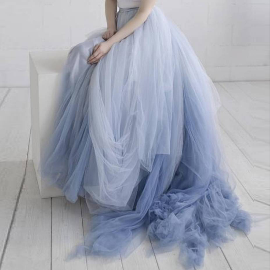 Fashion Mixed Color Tulle Tutu Long Prom Skirt Ball Gown Sweep Train Chic Ombre Maxi Party Skirts For Wedding Plus Size