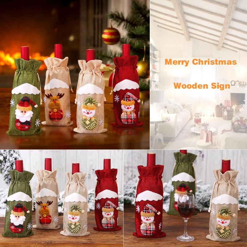 Cute Santa Claus Snowman Elk Red Wine Bottle Cover Bags Table Xmas Decor Christmas  Bottle Bag Decoration Dinner Table Decor