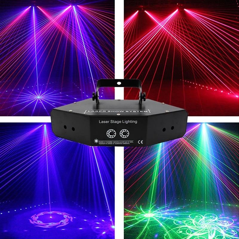 6 Eyes Dj RGB Laser Pattern Line Beam Scanner Mini Disco Lazer Stage Light Fog Machine Night Club KTV Bar