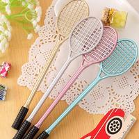 12 Uds Gel pluma Coreana de papelería Kawaii Cute bádminton raqueta pluma publicidad creativa doblada escuela Oficina Gel bolígrafos regalo