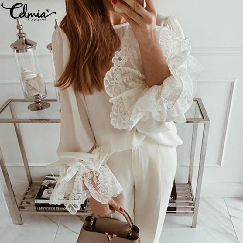 Top Fashion Celmia Women's Blouses Autumn Long Sleeve Ruffles White Lace Shirts Casual Loose Elegant Work Party Blusas Femininas