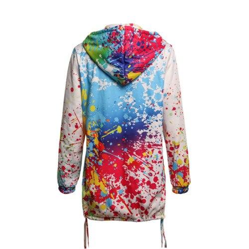 Tie Dye Coat Women's Long Sleeve Hooded Hoodies Sweatshirt Parka Jacket Coat Outwear Overcoat