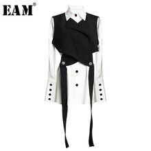 [EAM] camicia da donna nera con fasciatura camicetta a due pezzi nuova camicia a maniche lunghe con risvolto manica lunga moda marea primavera autunno 2021 JR675