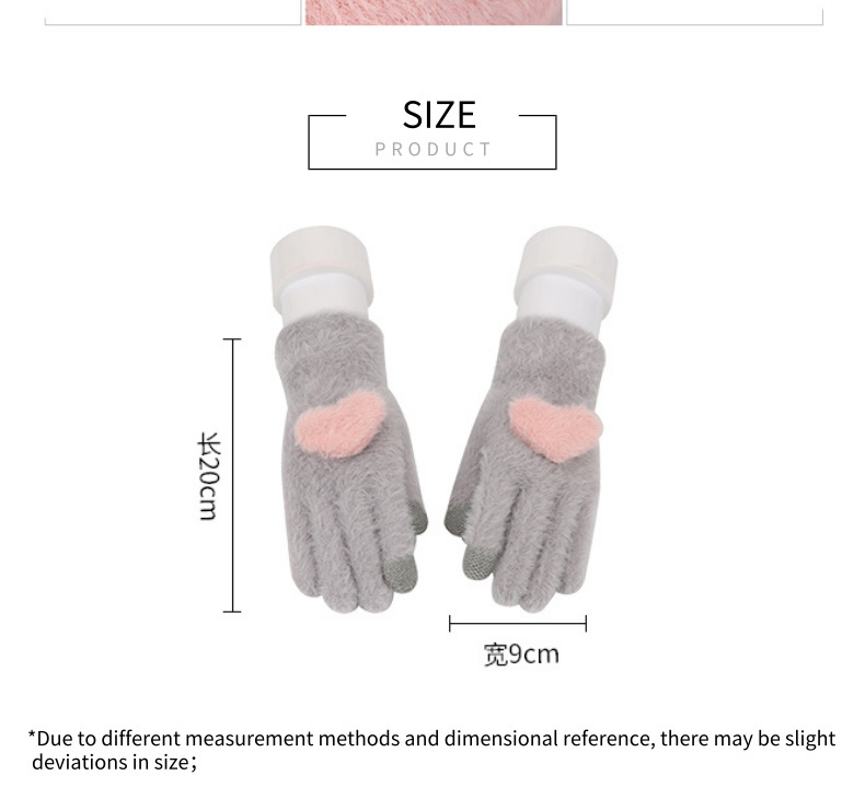 Fashionable and Knitted Touch Screen Gloves for Women Made of Soft Rabbit Wool with Pink Heart Design 8