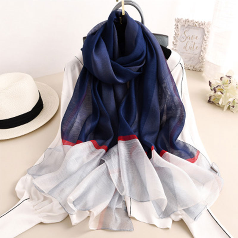 Fashion 2019 Silk Wool Scarf For Women Pashmina Lady Scarves Shawl Female Wraps Bandana Foulard Hijabs Print Soft Beach Stoles