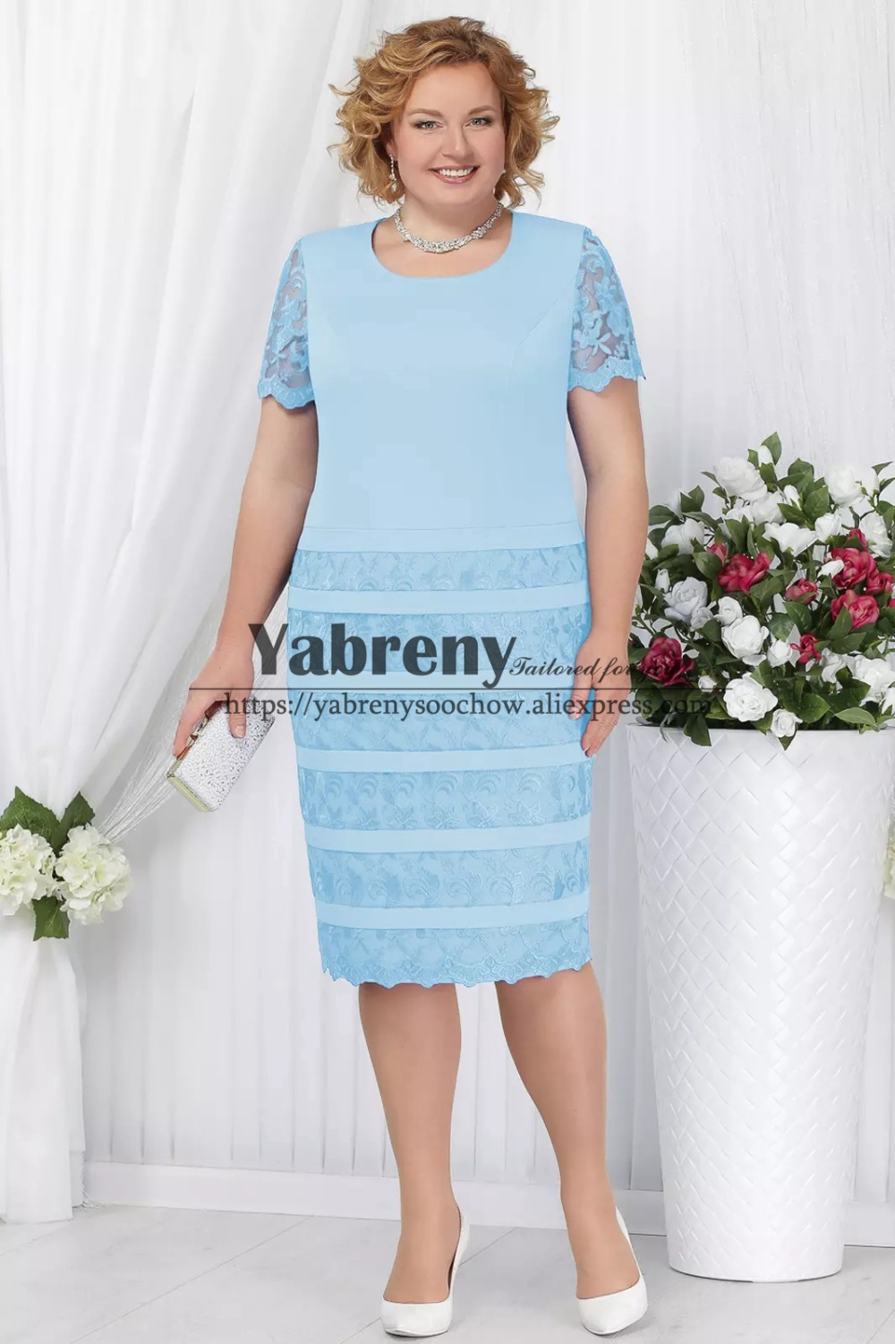 Plus size Mother of the bride dress with lace coat Sky blue