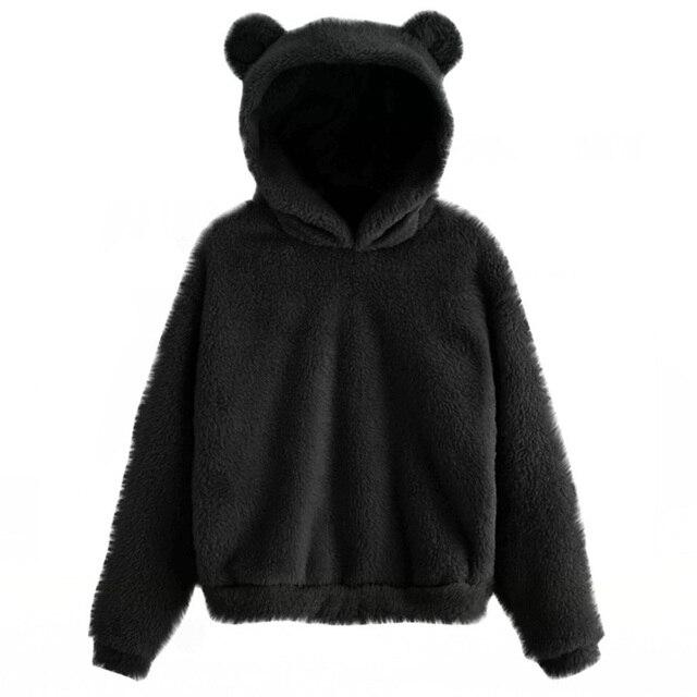 Lovely Fleece Animal Hoodies Women Sweatshirt Long Sleeve Warm Bear Ear Hooded Plush Hoody Pullover Lady Winter Tops 1
