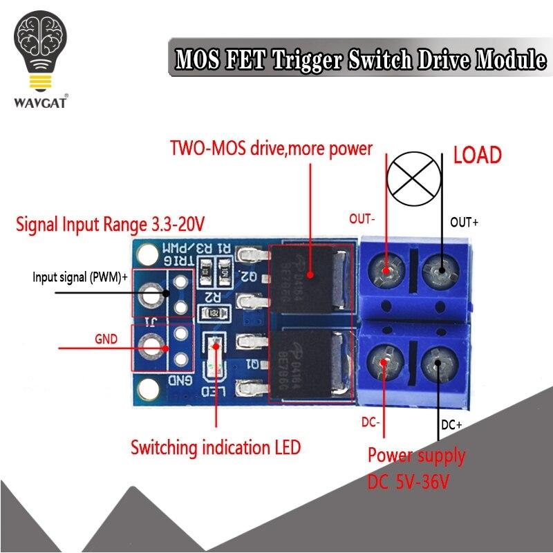 15A 400 Вт MOS FET триггер переключатель Привод модуль PWM регулятор панель управления