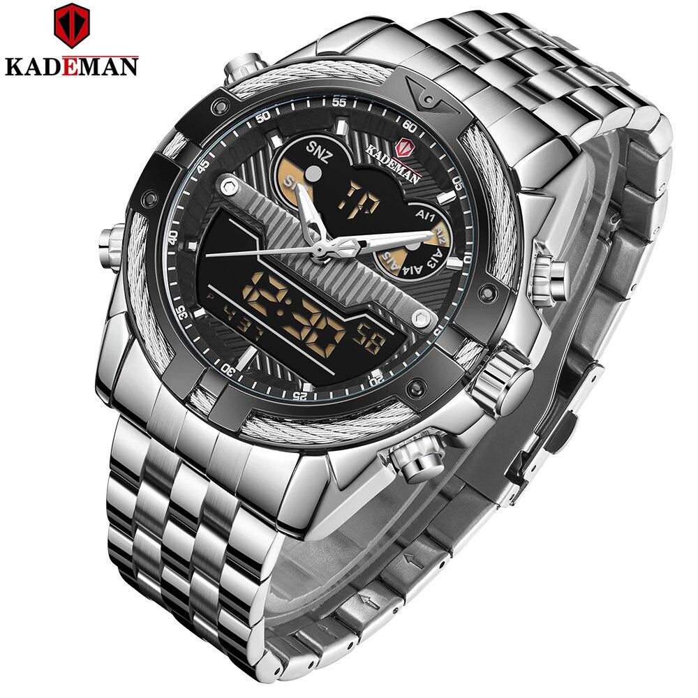 KADEMAN Top Luxury Brand Men Watch Sport LED Quartz Dual Display Watches Stainless Steel Military Wristwatch Relogio Masculino