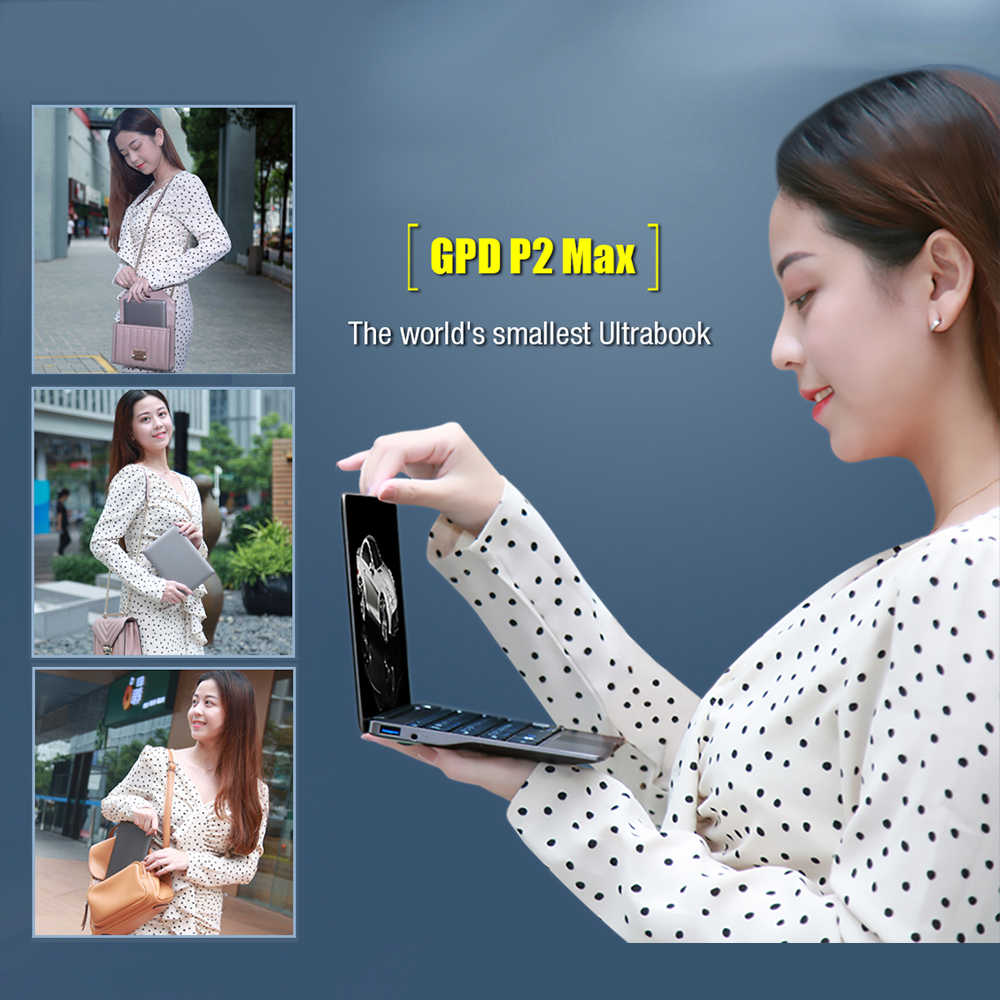 GPD P2 MAX 8.9 Inch Mini Laptop Tablet PC Windows 10 Intel Celeron 3965Y Notebook 8GB 256GB 2.4G & 5G WiFi BT 4.2 Touch Control
