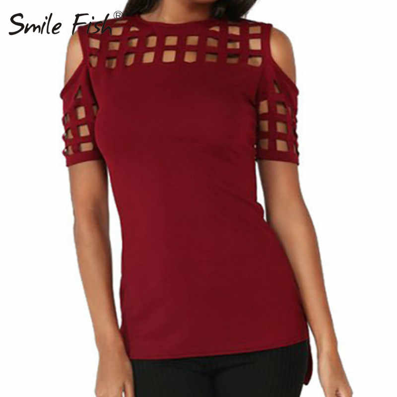 Zomer Blusas Sexy Shirts Slim Hollow Out Shirts Plus Size Block Off Shoulder Tops Slanke Blusa Feminino Vrouwen Blouse LX235
