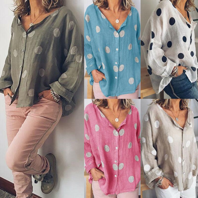Boho Women Summer Cotton Linen Tops V Neck Dot Top Blouse Casual Loose Baggy Tops Shirts Plus Size