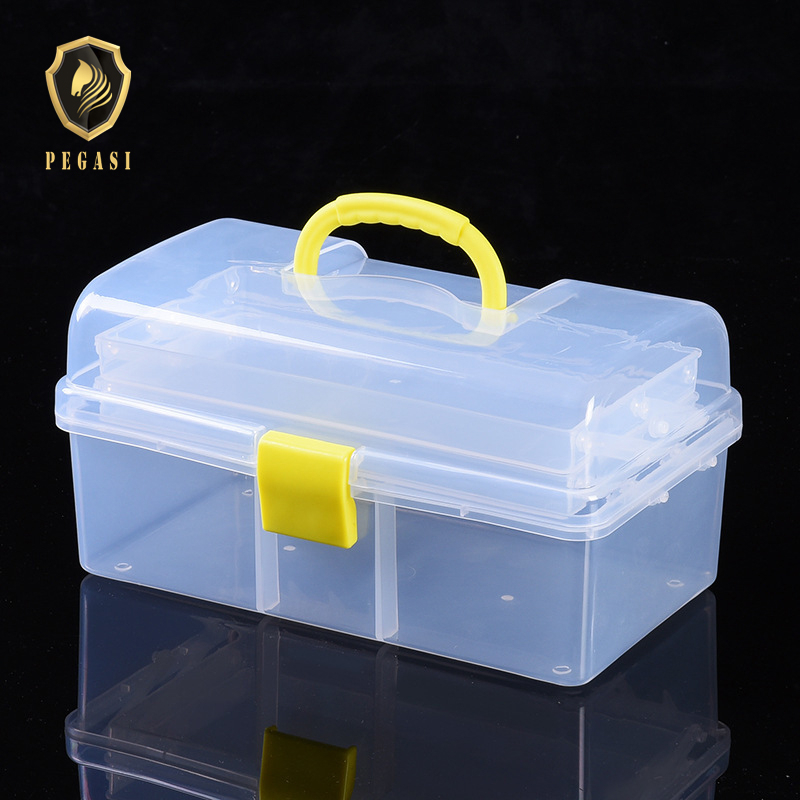 PEGASI Transparent Plastic Three-layer Folding Toolbox Hardware Accessories DIY Tool Box Organizer Parts Case Storage Toolkit