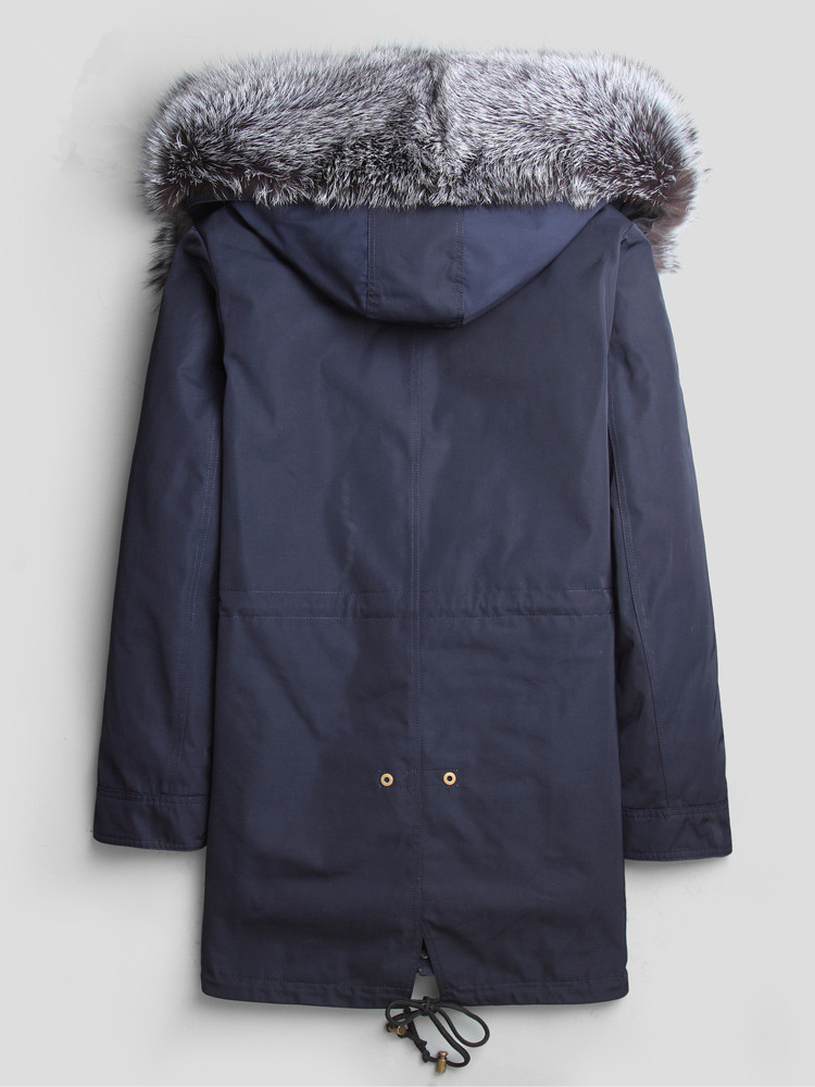 Men Natural Wolf Fur Coat Real Fox Fur Collar Parka Men Clothes 2020 Long Overcoat Winterjas Heren L18-3001 MY792