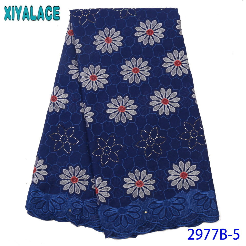 Navy Blue African Lace Fabric Swiss Voile Lace High Quality Embroidery Cotton Laces With Stones For Lace Material KS2977B-5