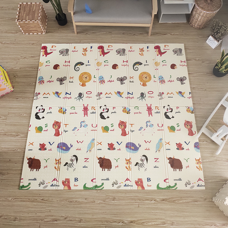 Hce08ceb12bdc4b90833ce894468f837df Thick Educational Children's Mat XPE Foldable Baby Mat Developing Kids Rug Road Game Playmat Soft Floor